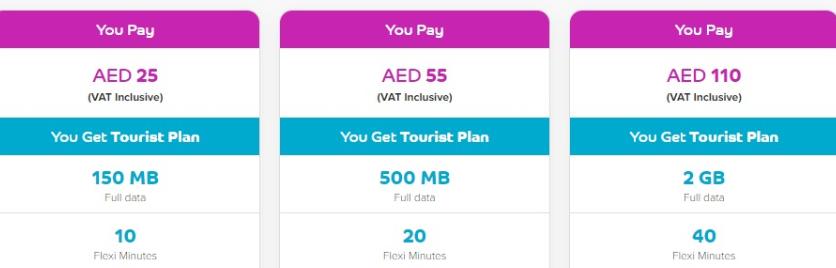 Tarifas Du para turistas Emiratos Dubai Abu Dhabi