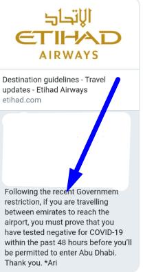 permiso covid entrar aeropuerto abu dhabi